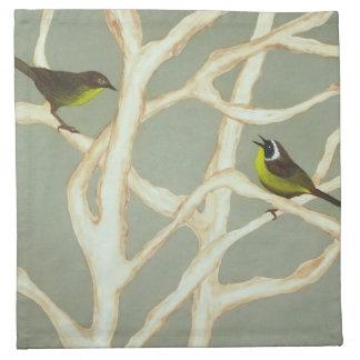 birds in winter printed napkin