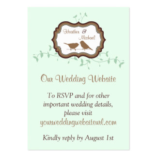 Birds Leaves Mint Chocolate Wedding Website Insert Pack Of Chubby Business Cards