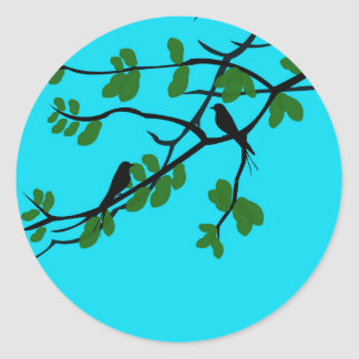 Birds_leaves_tree_blue_design Round Sticker