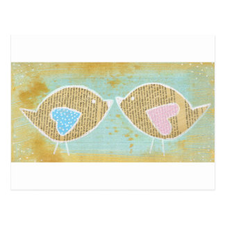Birds, love birds, 2 little cute birds postcard