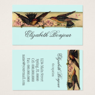 Birds Meeting ~ Business Cards Spring Flowers