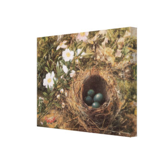 Birds Nest and Dogroses by Hill,Victorian Fine Art Canvas Print