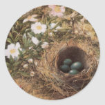 Birds Nest and Dogroses by Hill,Victorian Fine Art Stickers