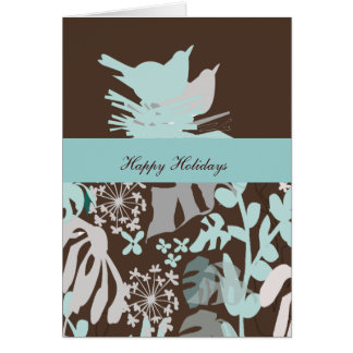 Bird's Nest Floral Holiday Season Greeting Card