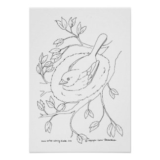Bird's Nest Line Drawing Print