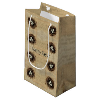 Bird's Nest With Eggs Modern Vintage Easter Small Gift Bag