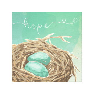 Bird's nest with two eggs watercolor art / hope canvas print