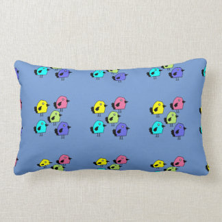 Birds of a feather colorful blue b/g pillow
