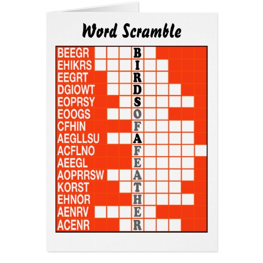 Birds of a Feather Word Scramble Card