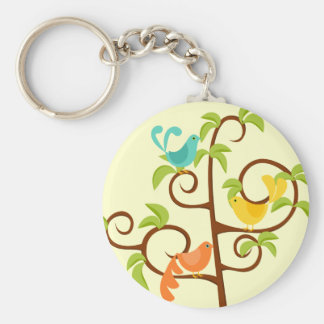 Birds of a Tree Basic Round Button Key Ring