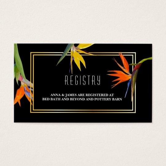 Birds of paradise Floral Wedding Registry Cards