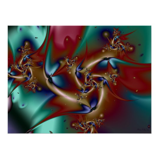Birds of Paradise Fractal Poster