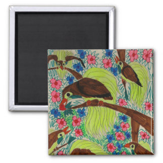 Birds of Paradise Square Magnet