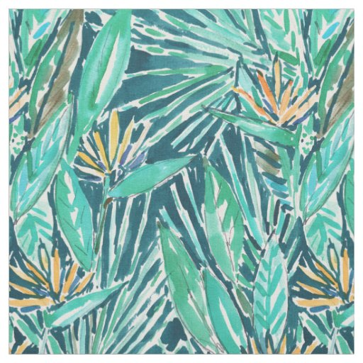 BIRDS OF PARADISE Tropical Watercolor Floral Fabric