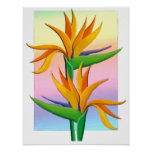 Birds of Paradise with Pastel Rainbow Background