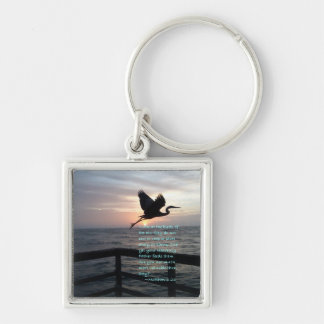 """Birds of the air"" Silver-Colored Square Key Ring"