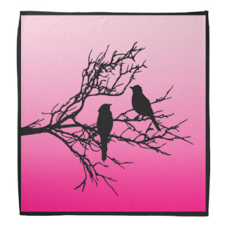 Birds on a Branch, Black Against Dawn Pink Bandana
