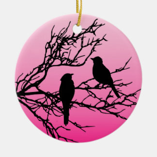 Birds on a Branch, Black Against Dawn Pink Christmas Ornament