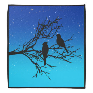 Birds on a Branch, Black Against Evening Blue Bandana