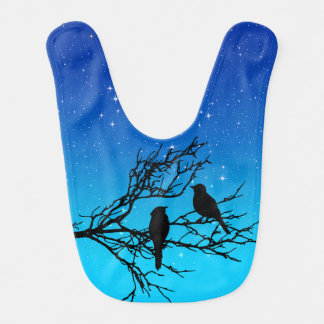 Birds on a Branch, Black Against Evening Blue Bib