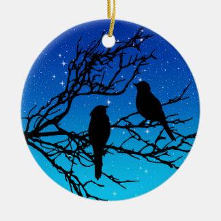 Birds on a Branch, Black Against Evening Blue Christmas Ornament