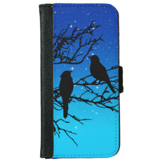 Birds on a Branch, Black Against Evening Blue iPhone 6 Wallet Case