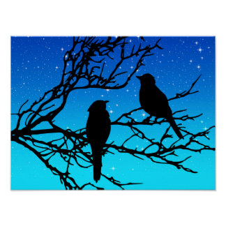 Birds on a Branch, Black Against Evening Blue Poster