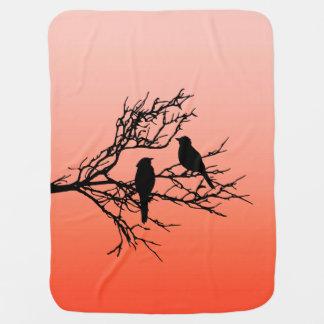 Birds on a Branch, Black Against Sunset Orange Baby Blanket