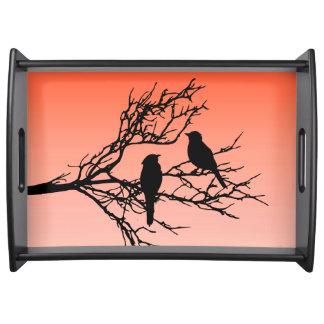 Birds on a Branch, Black Against Sunset Orange Serving Tray