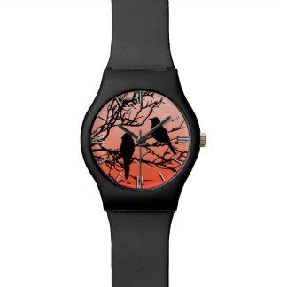 Birds on a Branch, Black Against Sunset Orange Watch