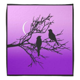 Birds on a Branch, Black Against Twilight Purple Bandana