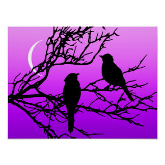 Birds on a Branch, Black Against Twilight Purple Poster