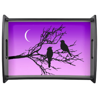 Birds on a Branch, Black Against Twilight Purple Serving Tray