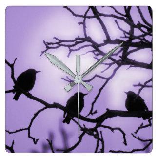 Birds on a Branch - Lavender Sky Wall Clock