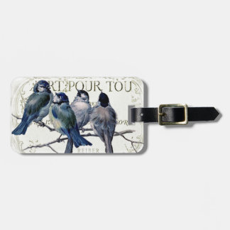Birds on a branch luggage tag