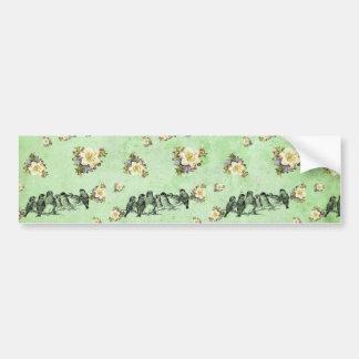 Birds on a Limb Floral on Green Bumper Sticker