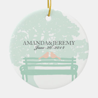 Birds on a Park Bench Wedding Anniversary Christmas Ornament