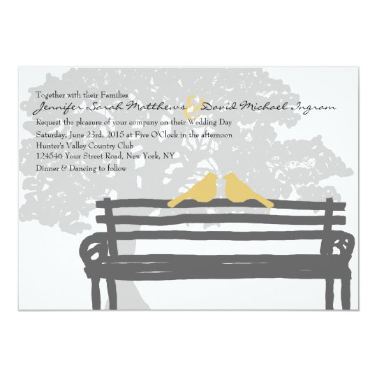 Birds on a Park Bench Wedding Invitations