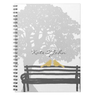 Birds on a Park Bench Wedding Notebooks