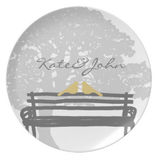 Birds on a Park Bench Wedding Plate
