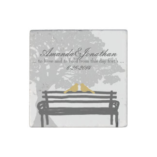 Birds on a Park Bench Wedding Stone Magnet