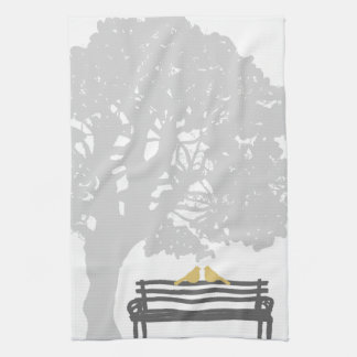 Birds on a Park Bench Wedding Tea Towel