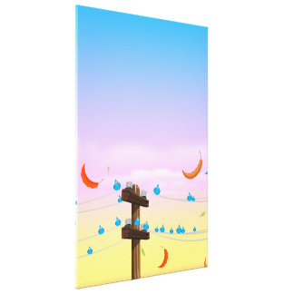 Birds on a telegraph wire. canvas print