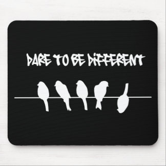 Birds on a wire – dare to be different (black) mouse mat