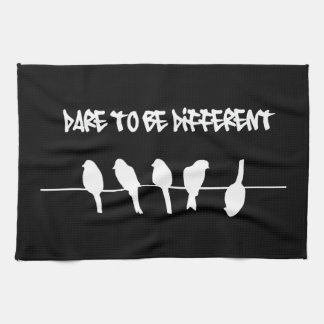Birds on a wire – dare to be different (black) tea towel