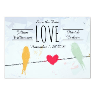 Birds on a Wire - Save the Date Card 13 Cm X 18 Cm Invitation Card