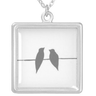Birds on a Wire Silver Plated Necklace
