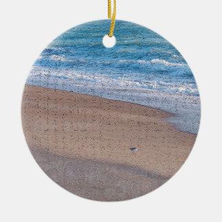 birds on beach crackle sea shore florida christmas tree ornament