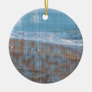 birds on beach grunged stripes shore image christmas ornament