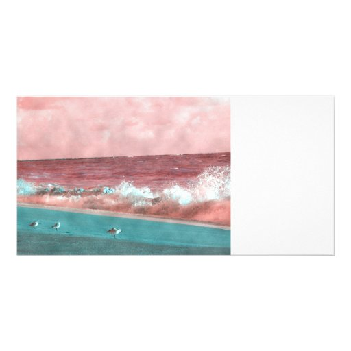 birds on beach magenta green grunged.JPG Photo Greeting Card